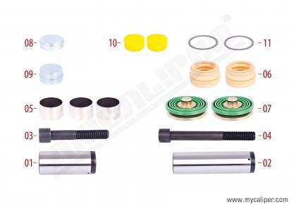 Caliper Guides , Seals & Tappet Repair Kit